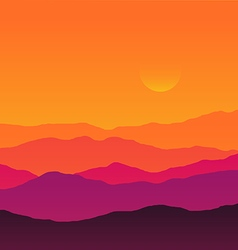 Abstract background sunset silhouette mountain vector image