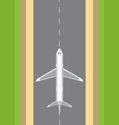 Airplane on the runway top view vector