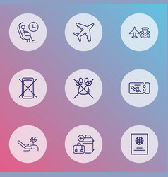airport icons line style set with lounge plane vector image