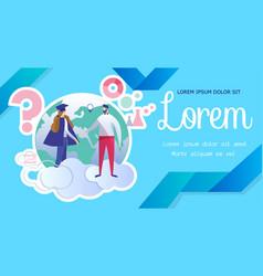 Alumnus communicate with teacher standing on cloud vector