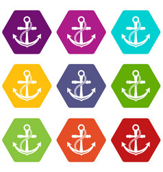 Anchor icons set 9 vector