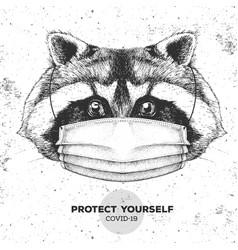 Animal raccoon wearing face medical mask covid-19 vector