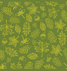Autumn doodle leaves seamless background vector
