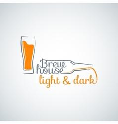 Beer glass bottle background vector