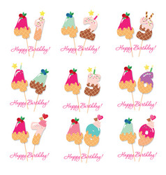 birthday card set festive sweet numbers from 41 vector image