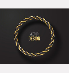 black and golden striped round frame isolated on vector image