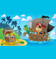 Boat with pirate monkey theme 3 vector