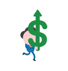 Businessman character running and carrying dollar vector