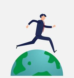 Businessman running around the world flat design vector