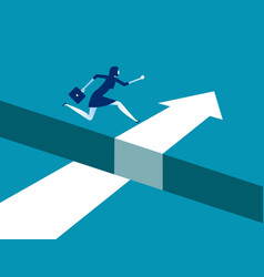 Businesswoman jumping over gap on way to success vector