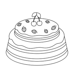 Cake with cherry icon in outline style isolated on vector