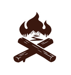 campfire logo for sport camping adventure vector image