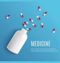 Capsule pills pouring out of white blank bottle in vector