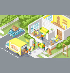 cargo delivery company people vector image