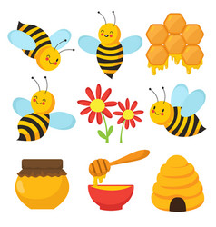 Cartoon bee cute bees flowers and honey vector