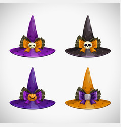 cartoon witch hat colorful icons set halloween vector image