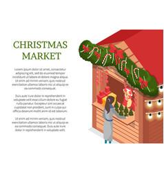 christmas market holiday celebration seller kiosk vector image