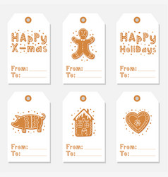 christmas vintage gift tags set with gingerbread vector image