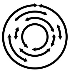 circular concentric arrows cyclic cycle arrows vector image