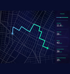 City map with route and data interface vector