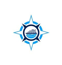 Compass star boat ocean logo vector