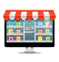 computer supermarket concept vector image