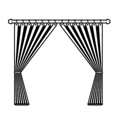 Curtain opened decorative of room holding in a vector