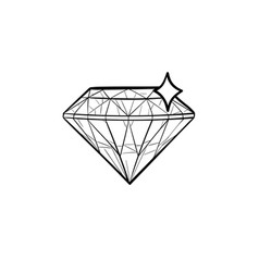diamond hand drawn outline doodle icon vector image