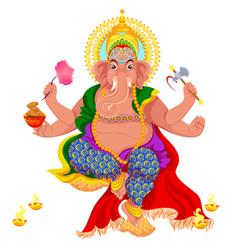 Diwali holiday and ganesha god with elephant head vector