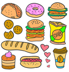 Doodle of food various set vector