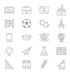 Education School and Science Icons Line Set Of vector image