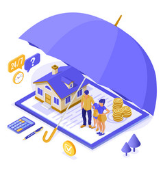 family home insurance isometric vector image