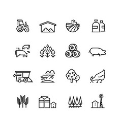 Farm harvest linear icons agronomy and vector