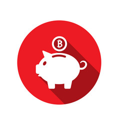 flat icons of piggy bank concept with bitcoin btc vector image