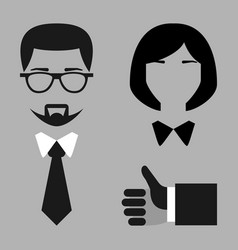 flat set Businessman and businesswoman blac vector image