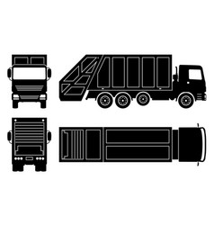 Garbage truck black icons vector