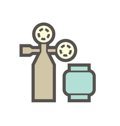 gas cylinder and pressure gauge or manometer icon vector image