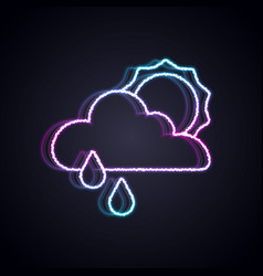 glowing neon line cloud with rain and sun icon vector image