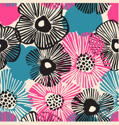 Hand drawn flowers background in retro blue black vector