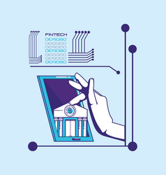 Hand using smartphone with fintech concept vector