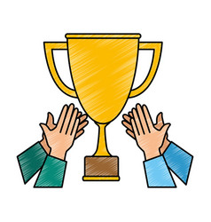 Hands with trophy cup award icon vector