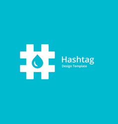 Hashtag symbol water drop logo icon design vector