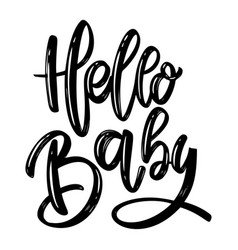 Hello balettering phrase on white background vector