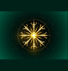 Helm awe norse gold magical stave vegvisir vector