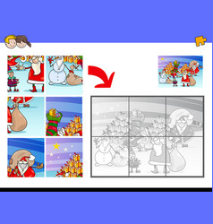 Jigsaw puzzles with christmas characters vector