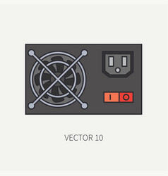 Line flat color computer part icon power vector