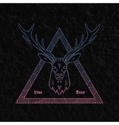 Line Style Abstract Deer Head vector