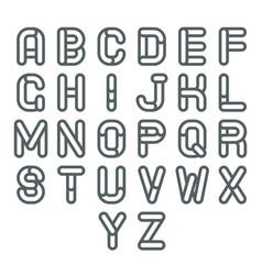 lineart soft line retro vintage alphabet a to z vector image