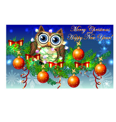 Lovely cartoon owl tangled in a garland of vector