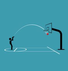 man shooting a basketball into a hoop and scoring vector image